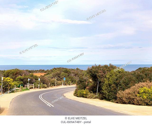 Empty coastal road, Point Addis National Park, Anglesea, Australia