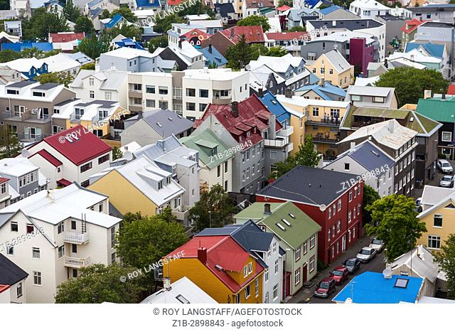 Colourful rooftops of Reykjavik seen from the tower of the Hallgrimskirkja Cathedral