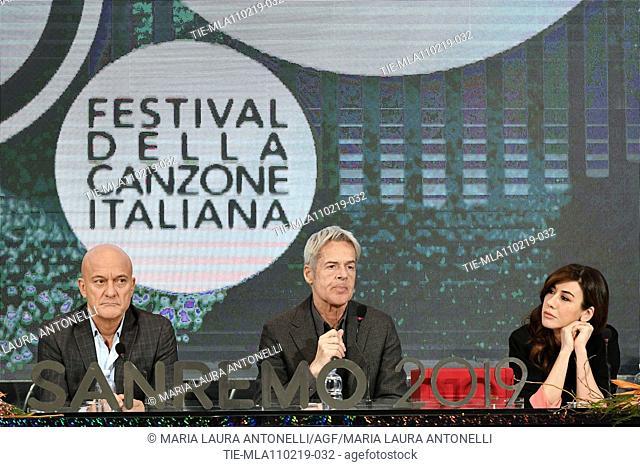 Claudio Baglioni, Claudio Bisio, Virginia Raffaele during the final press conference of 69th Sanremo Music Festival, Sanremo, ITALY- 10-02-2019