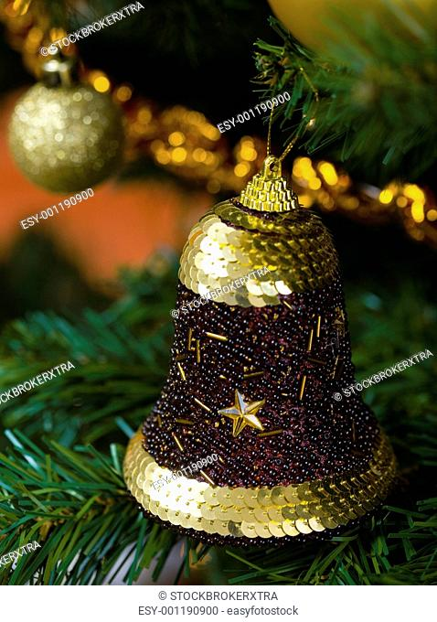 Bell decoration on Christmas tree