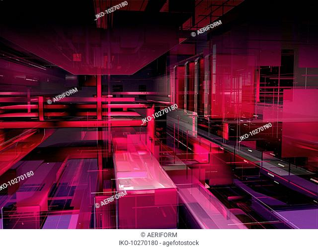 Abstract red geometric grid and block pattern