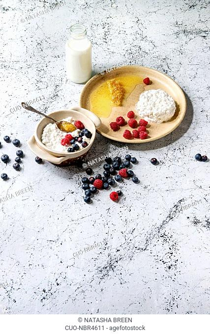Ceramic bowl of homemade cottage cheese served with blueberries, raspberries, bottle of milk and honeycombs over white marble texture background