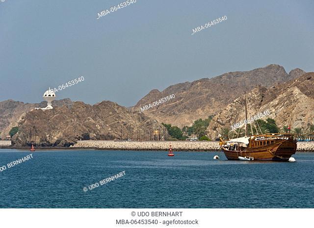 Arabia, Arabian peninsula, Sultanate of Oman, Muscat, Kalbuh park, coast, sea, sailing ship