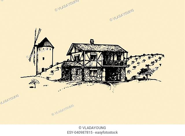 Sketch of village with windmill, fields and peasants house. Vector rural landscape illustration. Hand drawn mediterranean farm homestead for poster, card etc