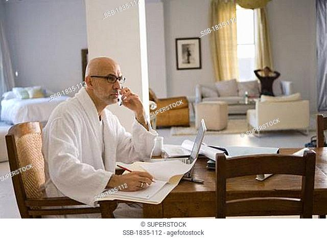 Side profile of a mature man talking on a mobile phone and writing with a pencil in a file