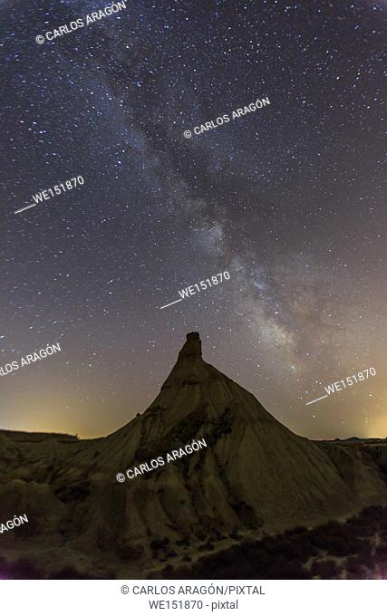 Milky way over Castildetierra, desert landscape in Bardenas Reales of Navarra, Spain