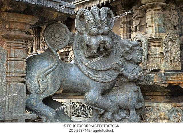 Vishnu narsimha and tiger. Chennakeshava temple. Belur, Karnataka, India