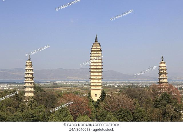 The Pagodas in China (Famous Three Pagodas in Dali, Yunnan province)