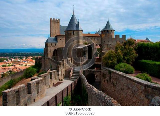 High angle view of a fortress, Carcassonne, Aude, Languedoc-Rousillon, France