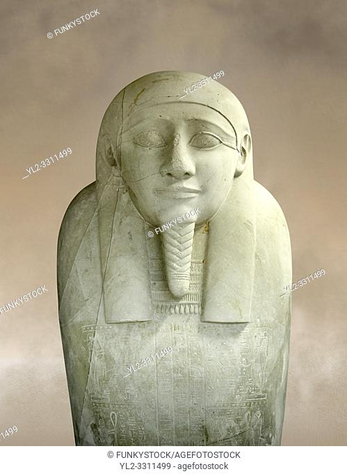 Ancient Egyptian Ptolemaic sacrophagus of the prophet Ahmose. 332-30 BC. Neues Museum Berlin AM 38