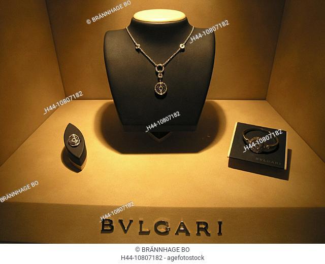 Airport of Zurich, Bijouterie, Bulgari, Color, Colour, Commerce, Display window, Jewel, Jeweler, jewellery, jewelry