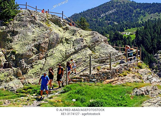 access stairs to the viewpoint, Vall de Nuria, Girona, Catalonia, Spain