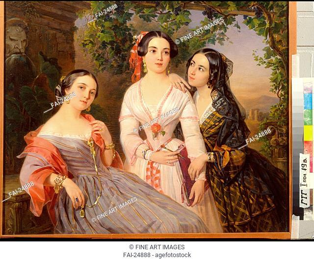 Portrait of Sisters Countess Elizaveta Salias De Tournemire, Sophia Sukhovo-Kobylina and Eudokia Petrovo-Solovovo. Orlov, Pimen Nikitich (1812-1863)