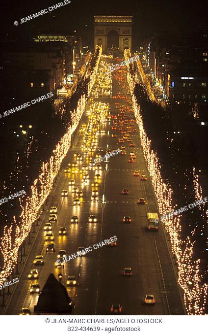 Champs Elysées from Place de la Concorde to Arc de Triomphe. Paris. France
