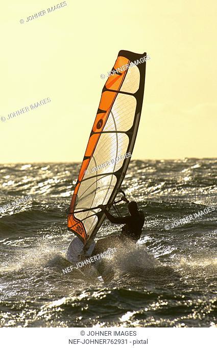 Windsurfer on an open sea, Sweden