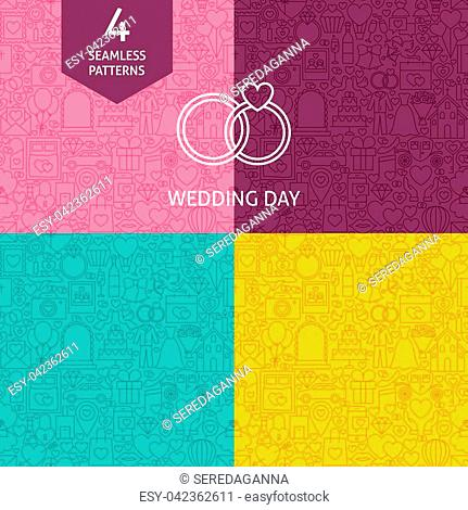 Thin Line Wedding Pattern Set. Four Vector Website Design Seamless Backgrounds. Save the Date