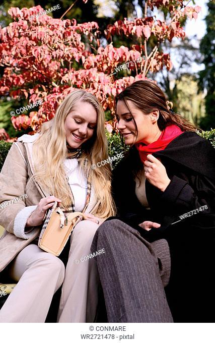 women, sitting, bench, park, handbag, young adults