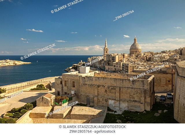 The skyline of Valletta, Malta