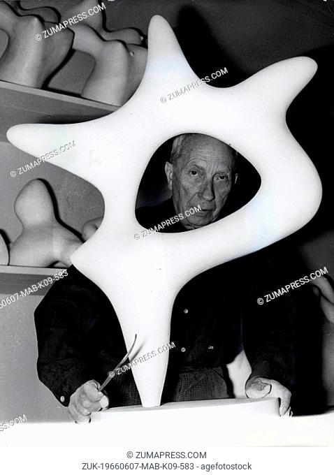 June 7, 1966 - Paris, France - Painter, poet and sculptor JEAN ARP at the age of 75. He was born in Alsace in 1887 and dead in Locarno, Switzerland in 1966