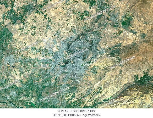 Colour satellite image of Yerevan, Armenia. Image taken on August 28, 2014 with Landsat 8 data