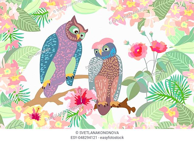 Seamless vector print with birds, blooming flowers and palm leaves. Victorian motifs