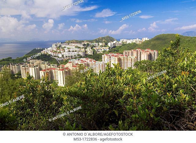 residential buildings in hong kong island seen from tai tam country park  hong kong  china  asia