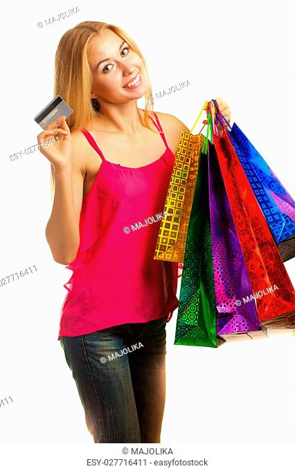 portrait young adult girl with colored bags hold credit card isolated on white