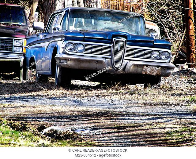 A Ford Edsel finds it final repose after a failed career on the roads, Pennsylvania, USA