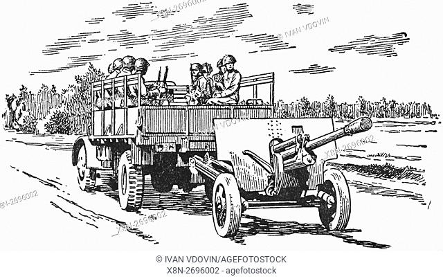 Artillery of WWII, illustration from Soviet book dated 1953