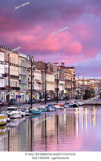 France, Languedoc-Roussillon, Herault Department, Sete, Old Port waterfront, dawn