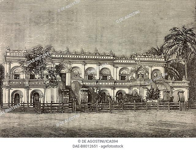 Sacu-tai-Kiaum monastery, Burma, photograph by Barbieri and Barberis, engraving from L'Illustrazione Italiana, No 26, June 20, 1886