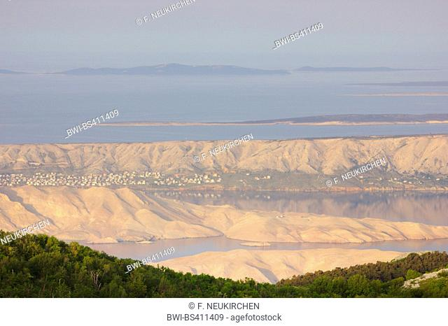 view from Velebit mountain range to the Adriatic Sea with Pag island in morning light, Croatia, Pag