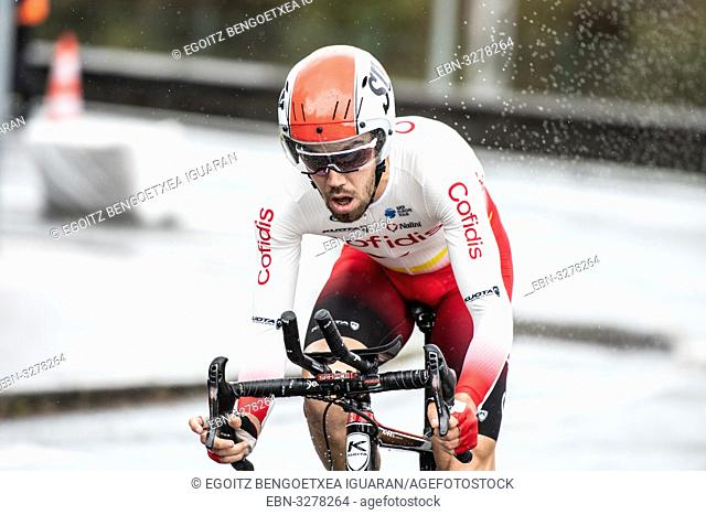 Jesus Herrada at Zumarraga, at the first stage of Itzulia, Basque Country Tour. Cycling Time Trial race