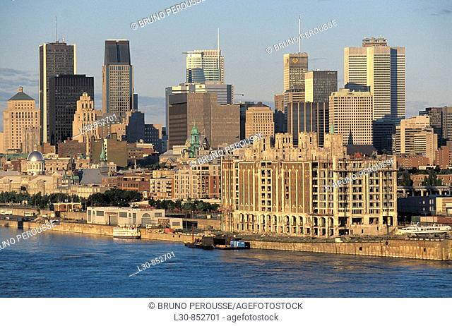 Downtown from Jacques Cartier Bridge, Montreal, Quebec, Canada