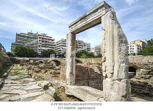 The Roman Forum in the center of Thessaloniki, surrounded by the modern city, Macedonia, Northern Greece