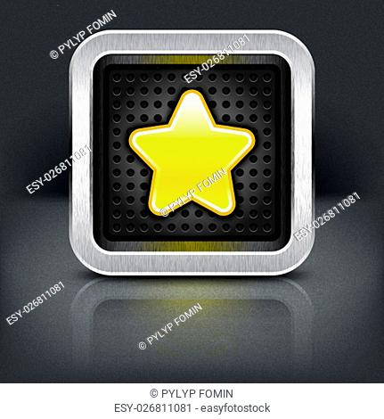 Yellow gold star icon with chrome metal frame. Rounded square button with perforation texture, black drop shadow and reflection on dark gray background