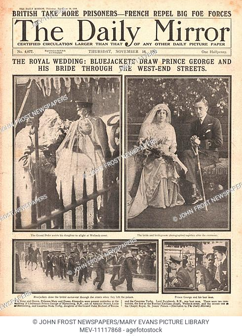 1916 Daily Mirror front page Wedding of Prince George of Battenberg and Countess Nada Torby