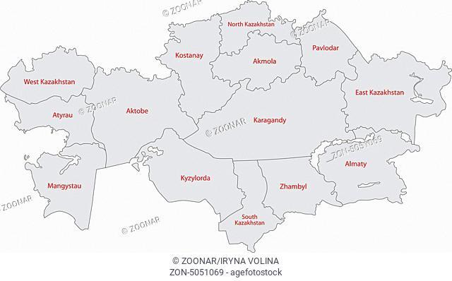 Gray Kazakhstan map
