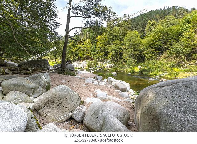 river Murg, Murg valley near Forbach, Northern Black Forest, Germany, wilderness and riverside with big rocks