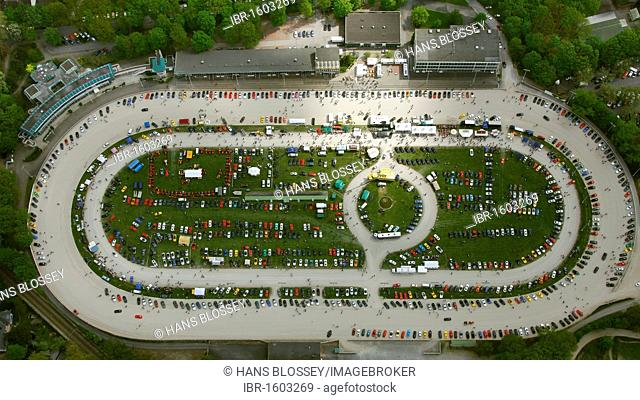 Aerial view, meeting of Porsche fans at the trotting course in Dinslaken, Trabrennbahn am Baerenkamp trotting course, Dinslaken, Ruhr area