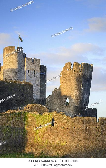 Leaning South East tower at Caerphilly Castle Caerphilly Mid-Glamorgan Wales