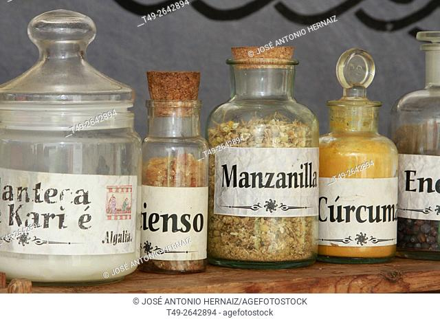 Bottles of natural products from medicinal plants