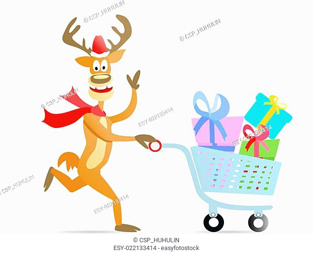 running shopping christmas reindeer