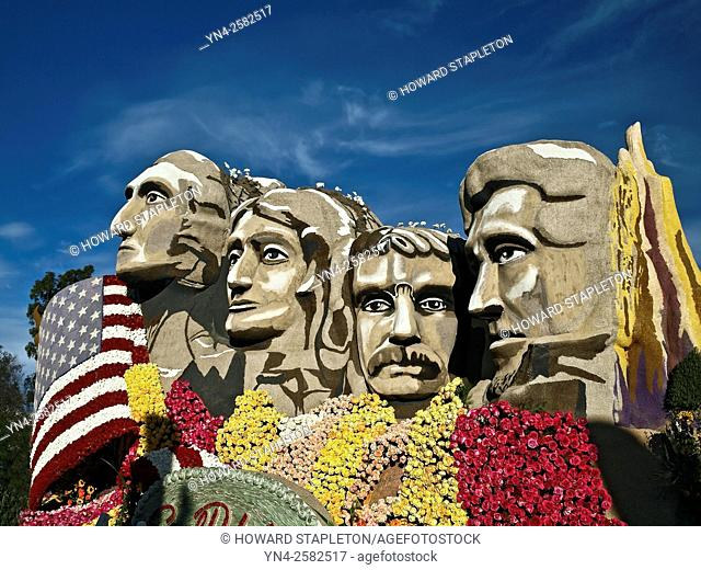 Mt. Rushmore South Dakota. Portion of a 2016 Rose Parade float. Pasadena, California