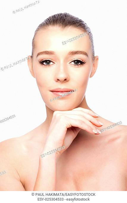 Beautiful clean face of woman, aesthetics skincare concept, on white