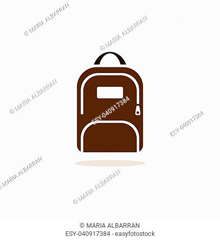 Backpack icon with shadow on beige background