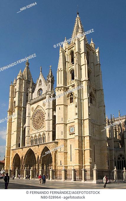 Gothic cathedral (13th century), León. Castilla-León, Spain