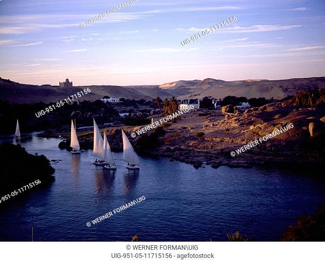 Feluccas on the Nile near the island of Philae