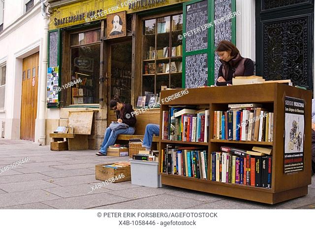 Outside Shakespeare and Company bookshop central Paris France Europe