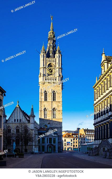 Belgium, Flanders, Ghent (Gent). Het Befort van Gent, 14th century belfry, and the Stadshuis city hall at right